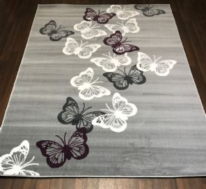 Modern Approx 8x5ft 160x230cm Woven Backed Butterfly Designs Greys/Creams Nice